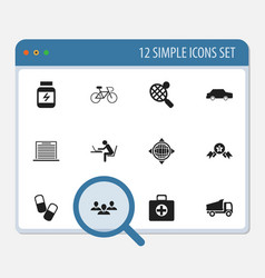Set of 12 editable complex icons includes symbols vector