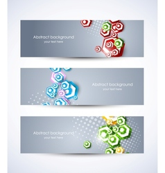 Set of banners with hexagons vector image