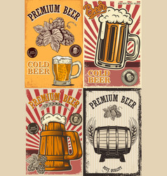 set of beer pub posters design element for poster vector image