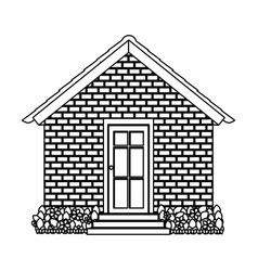 Silhouette comfortable facade house with garden vector