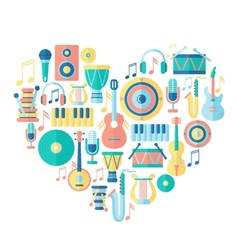 Silhouette heart with musical instruments vector