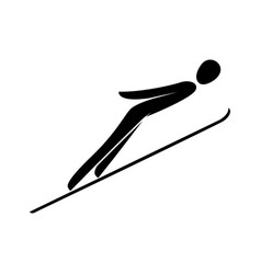 Silhouette ski jumping athlete isolated winter vector