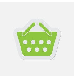 Simple green icon - shopping basket vector
