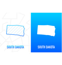 South dakota - us state contour line in white vector