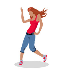 Street dancer woman in flat design vector