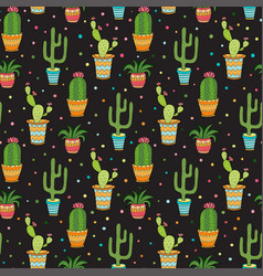 Succulent and cactus seamless pattern cartoon vector