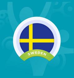 sweden flag european football 2020 tournament vector image