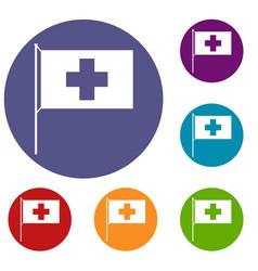 switzerland flag icons set vector image