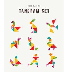 Tangram set creative art colorful animal shapes vector