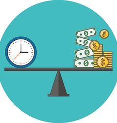Time is money concept Flat design Icon in vector image