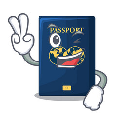 two finger blue passport above character wooden vector image