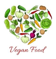 Vegan food heart poster of vegetables vector image