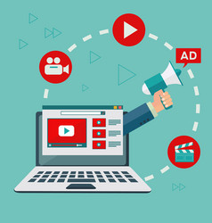 video marketing and digital advertising concept vector image