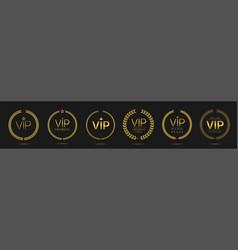 vip member golden laurel wreath label set vector image