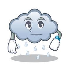 Waiting rain cloud character cartoon vector
