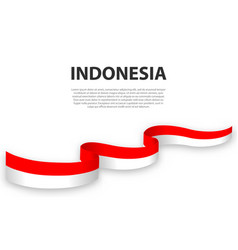 Waving ribbon or banner with flag indonesia vector