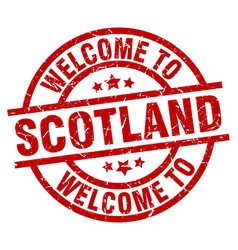 Welcome to scotland red stamp vector