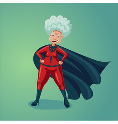 Wonder old lady senior adult woman in super hero vector