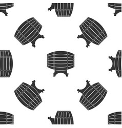 wooden barrel on rack icon seamless pattern vector image