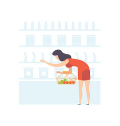 young woman with basket choosing products on vector image