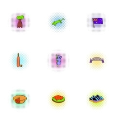 Australia republic icons set pop-art style vector image