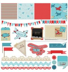 Baby Boy Plane Elements vector image vector image