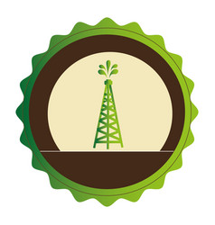 green circular emblem with oil tower vector image