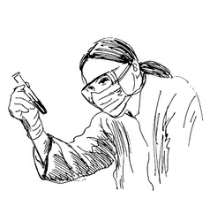 Hand sketch scientist vector image