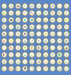 100 technology icons set cartoon vector image