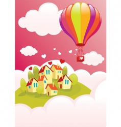 air balloon over the city vector image vector image