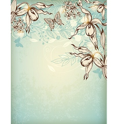 Decorative hand drawn floral background vector