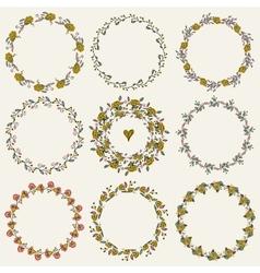 Set of nine hand-draw laurel wreaths vector image vector image