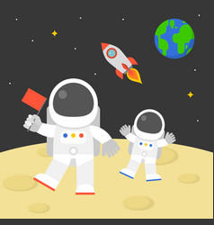 astronaut holding red flag walking on moon vector image vector image