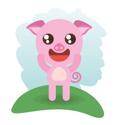 cute piggy animal wildlife vector image vector image