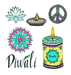 diwali colorful signs collection lotus rangoli vector image