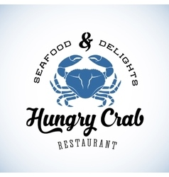 Hungry Crab Restaurant Abstract Retro Logo vector image vector image