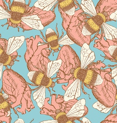 Sketch bee and heart in vintage style vector image