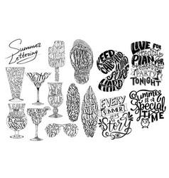 summer lettering set brush lettering composition vector image