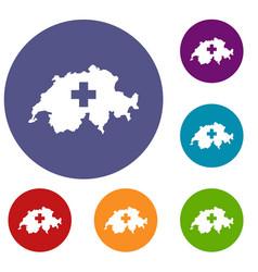 switzerland map icons set vector image