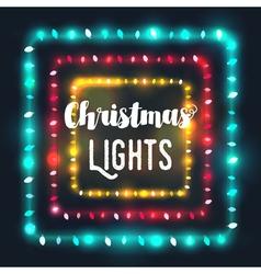 Three square Christmas light borders vector image
