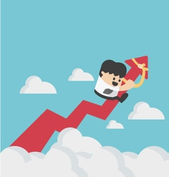 Businessman on a red arrow pointing up to sky vector