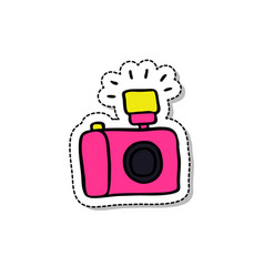 camera doodle icon vector image