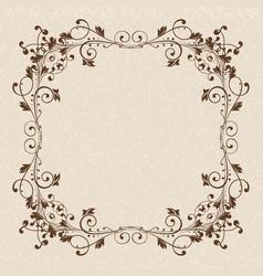 floral ornament brown vintage frame on beige vector image