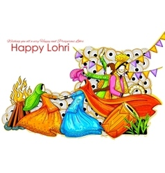 Happy Lohri background for Punjabi festival vector image vector image