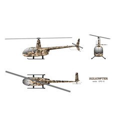 military helicopter in realistic style vector image