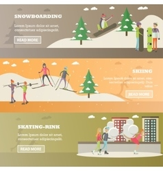 set of winter sports and recreation concept vector image