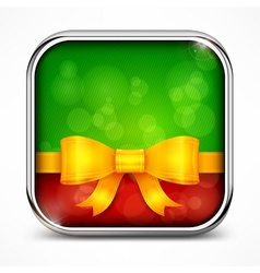 Square green icon bow vector image vector image