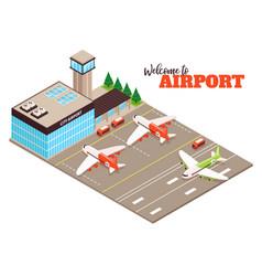 Airport runway isometric view vector