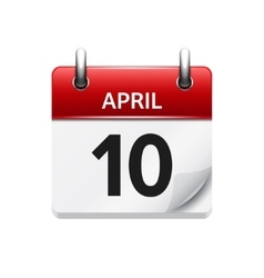 April 10 flat daily calendar icon Date vector
