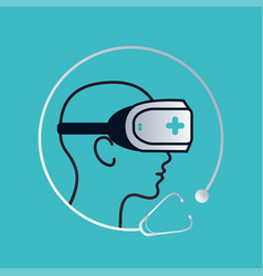 Ar and vr healthcare icon logo technology trends vector